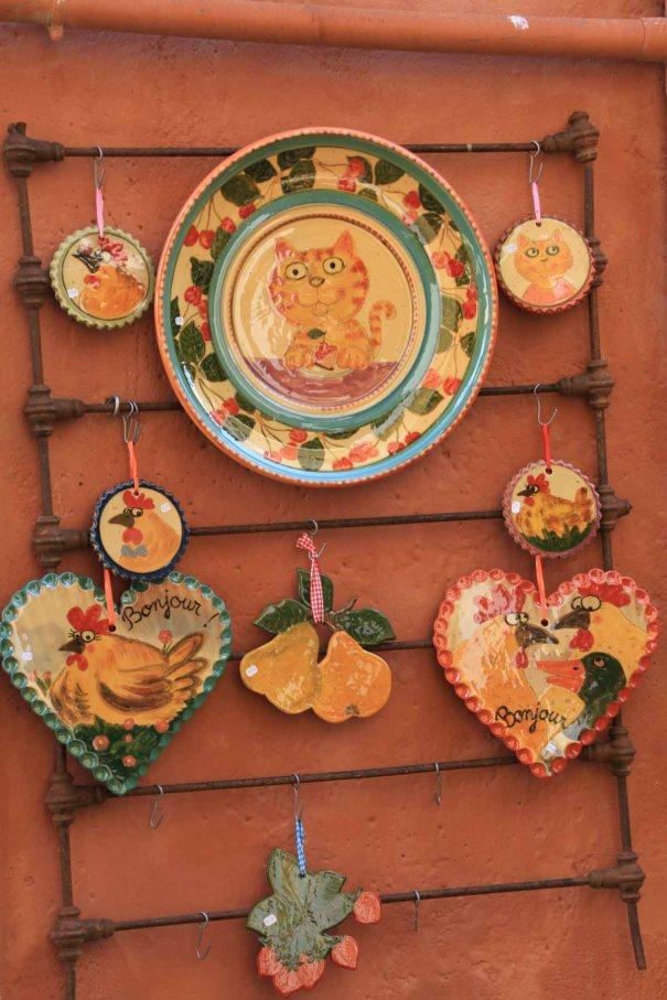 Ceramics on display.