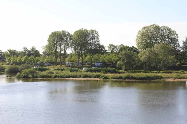 Campsite from opposite bank of the Loire
