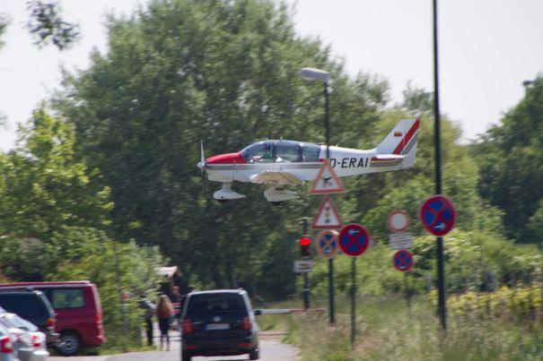 A Bit Lower. Lucky its not a Jumbo Jet.
