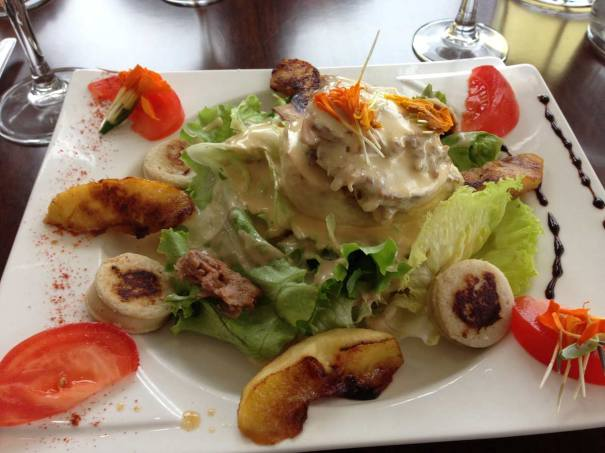 Starter...Coarse pork paté salad served with a warm cheese sauce, normandy apple and a white sausage.