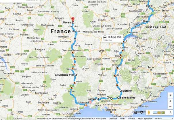 Route to Nevers