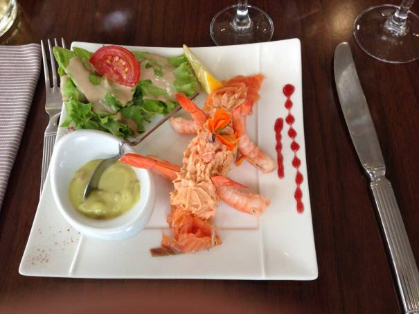 Starter..Salmon paté with prawns and gazpacho
