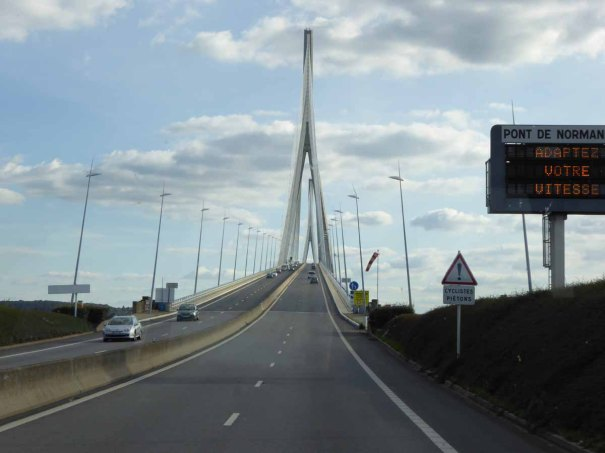 The Pont de Normandie, crossing the Seine.