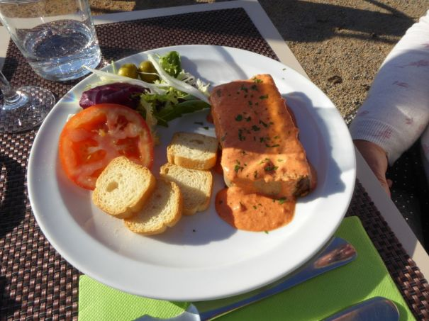 Vegetable Pate with pepper sauce.