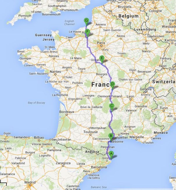 Route to Northern France