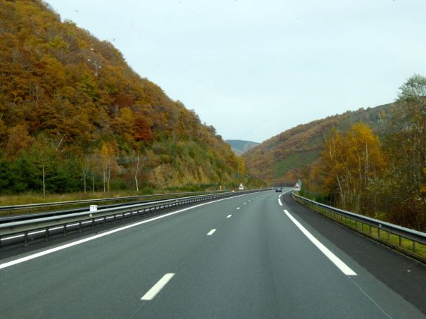 Autumn colours . We are driving north on the A75