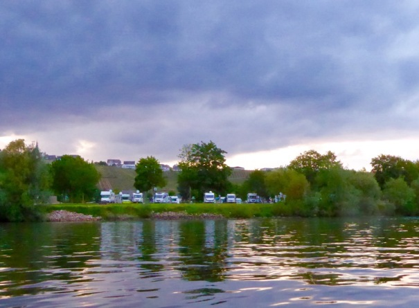 The front row motorhomes get a good view of the river. We are moving off again tomorrow...we will head for Trier, the very old town with a roman history, close to the border with Luxembourg.