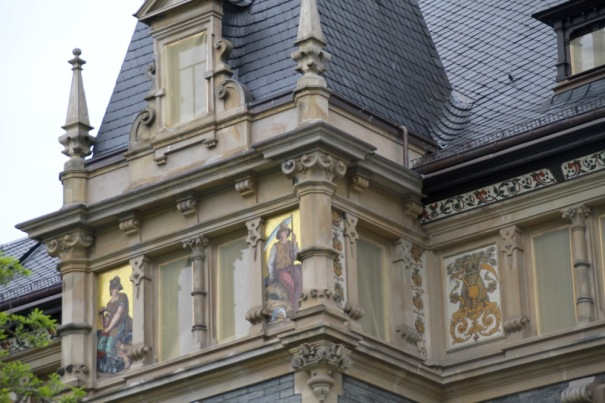 Detail of the frescoes which cover the castle.
