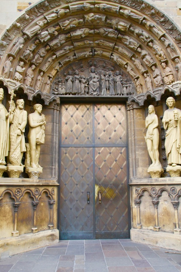 Impressive doors on the Church of Our Lady, next to the cathedral.