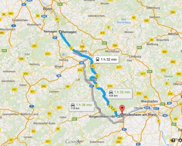 Route to Rüdesheim