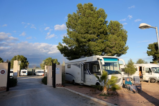 Mavis and Nia parked by the entrance to Valencia Camper Park